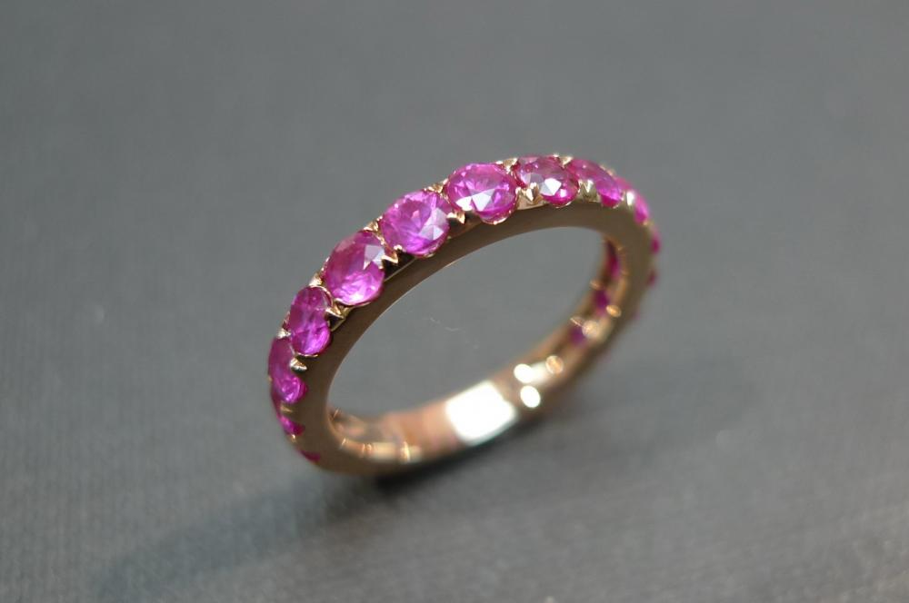 Pink Sapphire Wedding Band Ring In 18K Rose Gold on Luulla