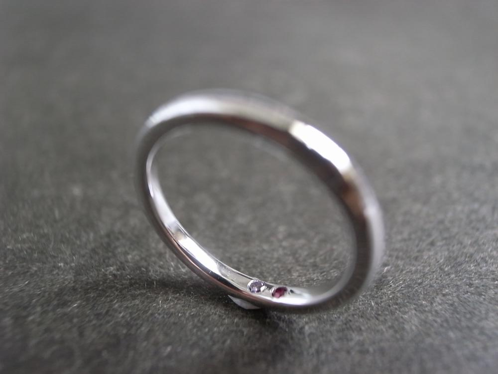 Wedding Ring with Ruby and Amethyst in Platinum