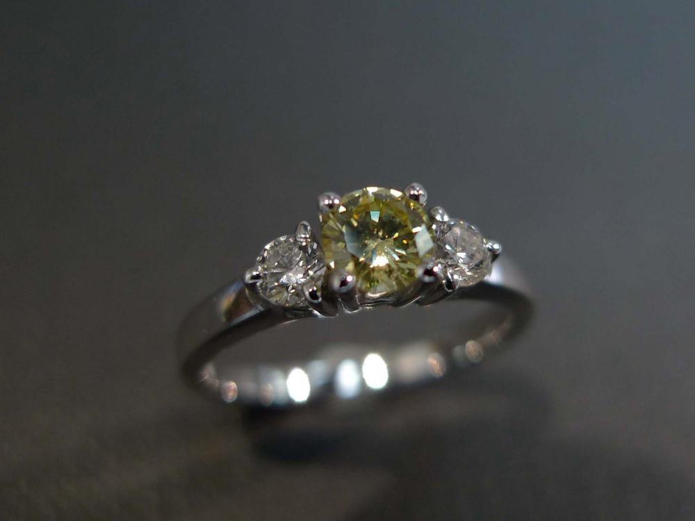 Diamond Yellow Sapphire Engagement Wedding Ring in 14K White Gold