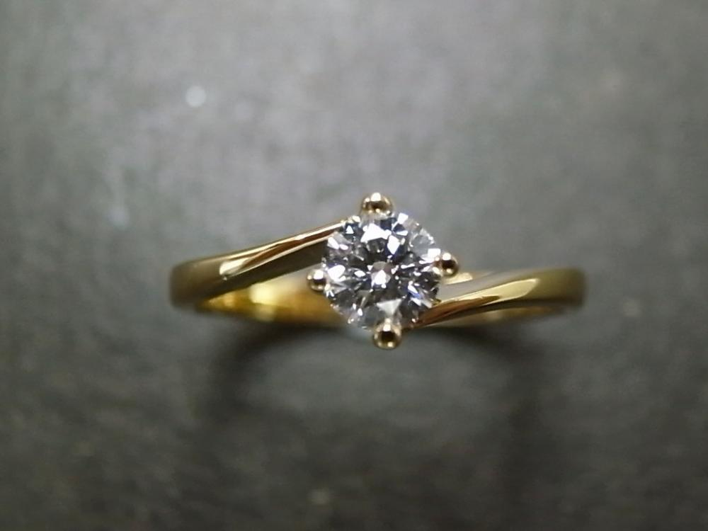 Solitaire Diamond Engagement Ring in 18K Yellow Gold (0.25ct, F/VS)