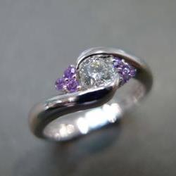 Diamonds Wedding Ring with Amethyst in 14K White Gold