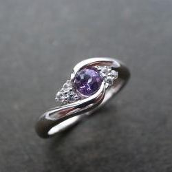 Wedding Ring with Amethyst and White Sapphire in 14K White Gold