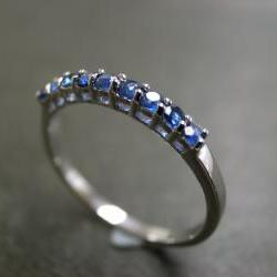 Blue Sapphire Wedding Ring in 14 White Gold