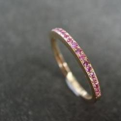 Pink Sapphire Band Bridal Ring in 18K Rose Gold