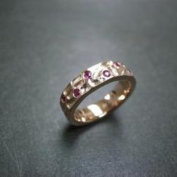 6mm Ruby Wedding Ring in 14K Rose Gold