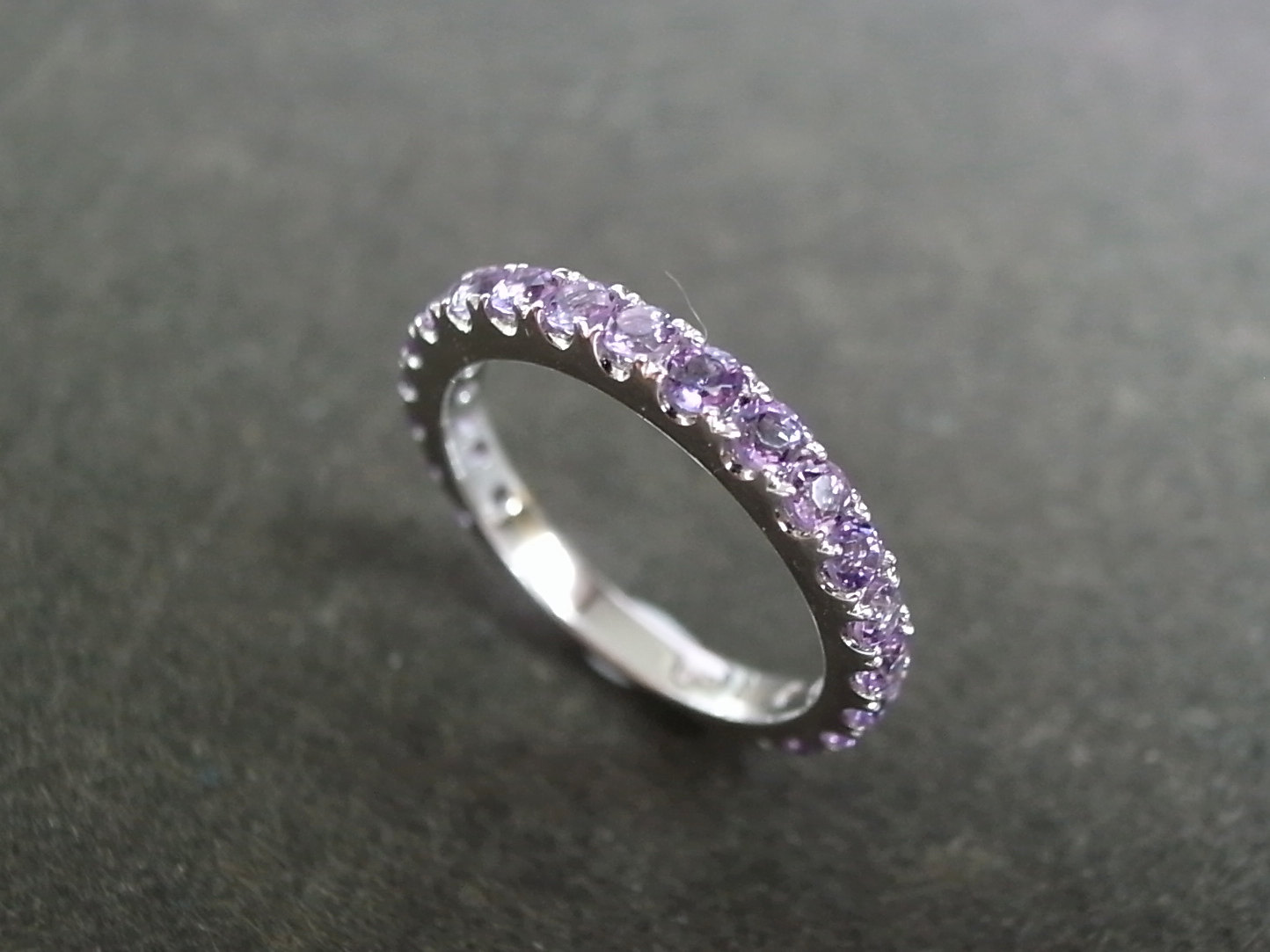 Amethyst Wedding Ring In 14K White Gold On Luulla