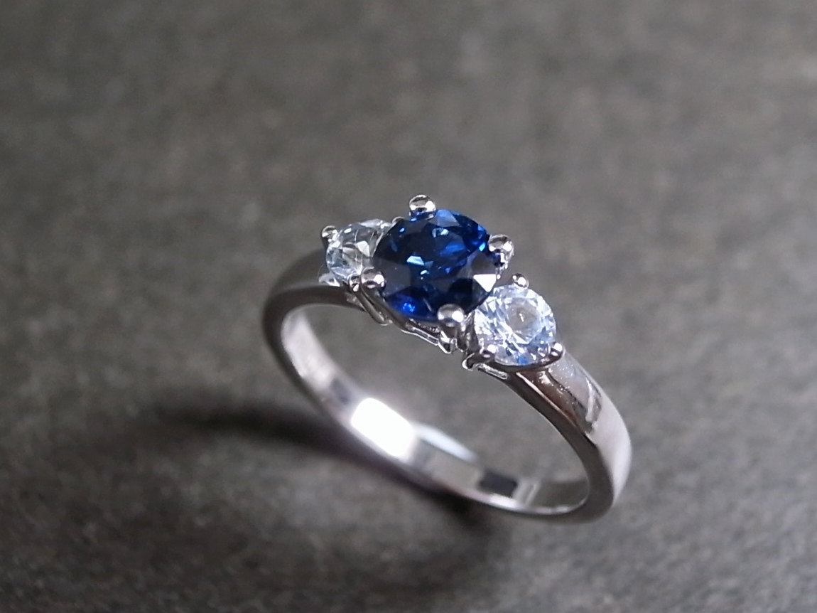 Blue Sapphire And White Sapphire In 14k White Gold