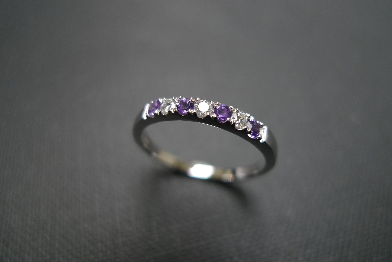 diamond wedding ring with amethyst in 14k white gold - Amethyst Wedding Rings